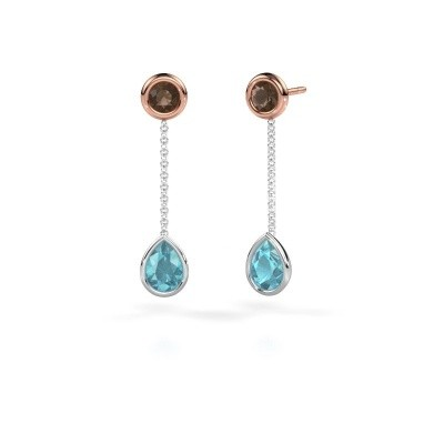 Picture of Drop earrings Ladawn 585 white gold blue topaz 7x5 mm