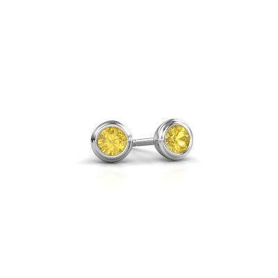 Picture of Stud earrings Shemika 375 white gold yellow sapphire 3.4 mm