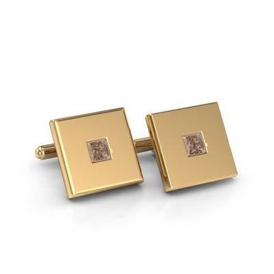 Cufflinks Givanti 585 gold brown diamond 0.80 crt