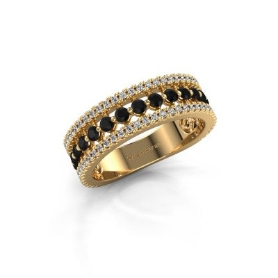 Verlovingsring Elizbeth 1 750 goud zwarte diamant 1.054 crt
