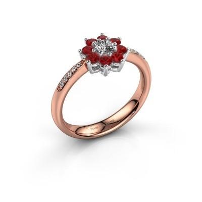 Verlovingsring Camille 2 585 rosé goud robijn 3.4 mm