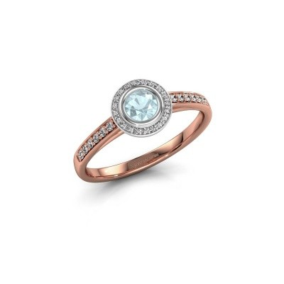 Engagement ring Noud 2 RND 585 rose gold aquamarine 4 mm