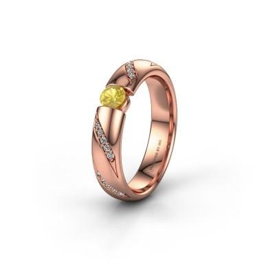 Trouwring WH2102L34A 375 rosé goud gele saffier ±4x1.7 mm