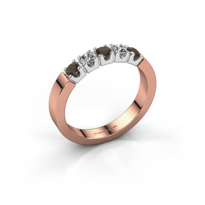 Engagement ring Dana 5 585 rose gold smokey quartz 3 mm