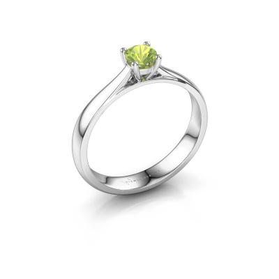 Engagement ring Sam 950 platinum peridot 4.2 mm
