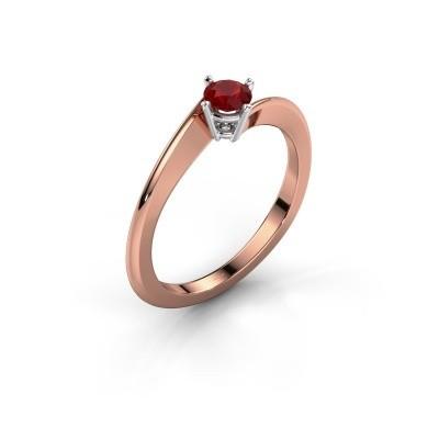 Foto van Verlovingsring Ingrid 585 rosé goud robijn 4 mm