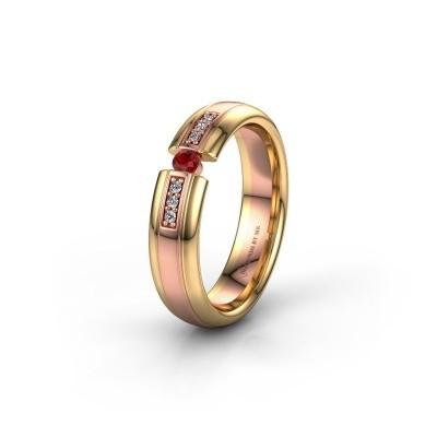 Trouwring WH2128L26C 585 rosé goud robijn ±5x2 mm