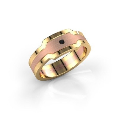 Heren ring Guido 585 rosé goud zwarte diamant 0.036 crt