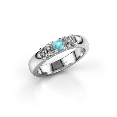 Engagement ring Rianne 3 925 silver blue topaz 3.4 mm
