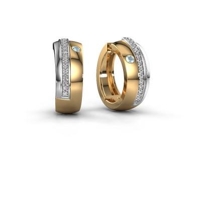 Creolen Shakita 585 goud aquamarijn 2 mm