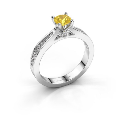 Engagement ring Evelien 585 white gold yellow sapphire 5 mm