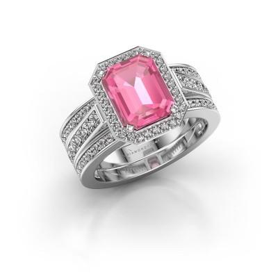 Foto van Ring Dodie 3 585 witgoud roze saffier 9x7 mm