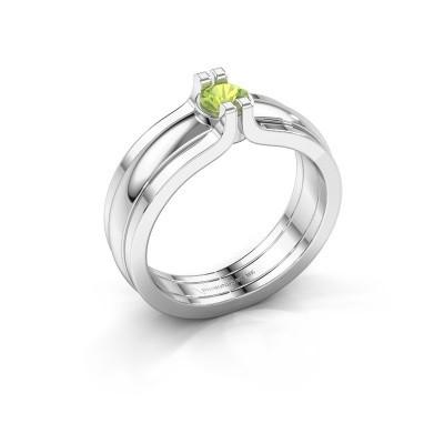 Foto van Ring Jade 925 zilver peridoot 4 mm