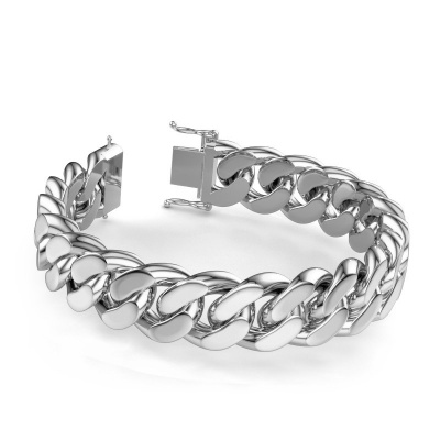 Photo de Cubain bracelet ±17 mm 585 or blanc