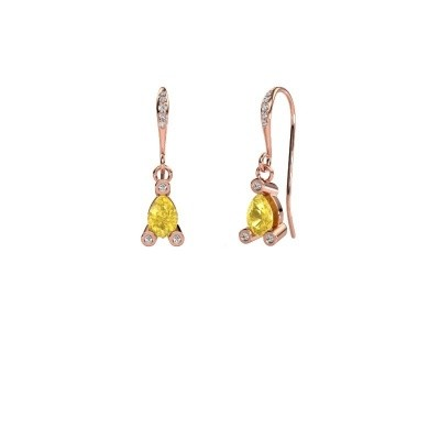 Drop earrings Bunny 2 375 rose gold yellow sapphire 7x5 mm