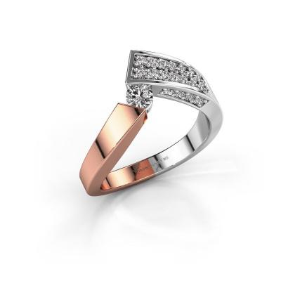 Bague Evie 585 or rose diamant synthétique 0.456 crt