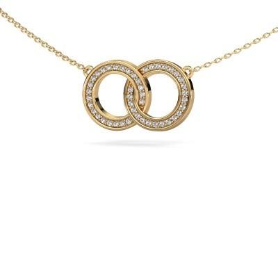 Ketting Circles 1 375 goud zirkonia 1 mm