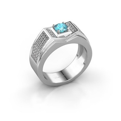 Men's ring Marcel 375 white gold blue topaz 5 mm