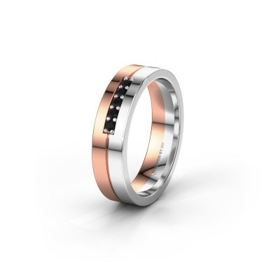 Wedding ring WH0211L15AP 585 rose gold black diamond ±0.20x0.07 in