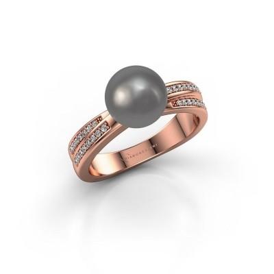 Foto van Ring Jolies 375 rosé goud grijze parel 8 mm