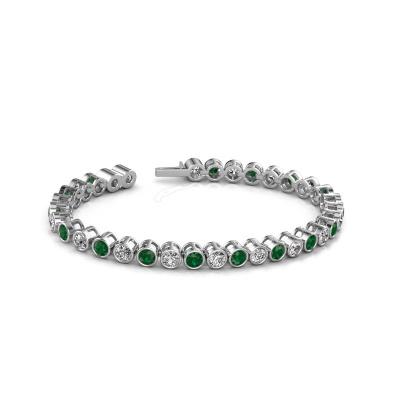 Foto van Tennisarmband Allegra 4 mm 585 witgoud smaragd 4 mm