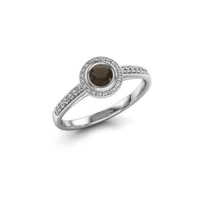 Engagement ring Noud 2 RND 585 white gold smokey quartz 4 mm