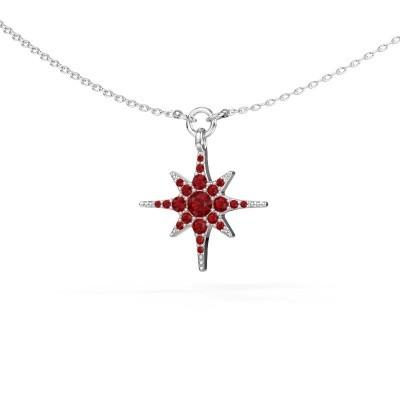 Halskette Star 925 Silber Rubin 3 mm
