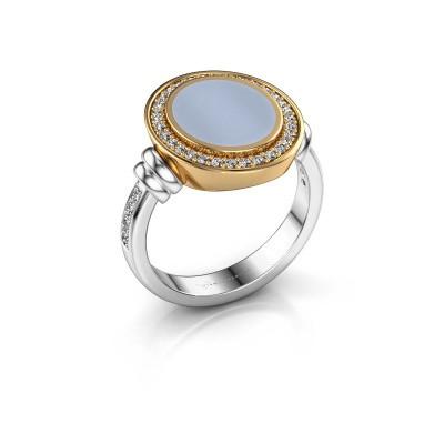 Zegelring Servie 2 585 witgoud licht blauwe lagensteen 12x10 mm