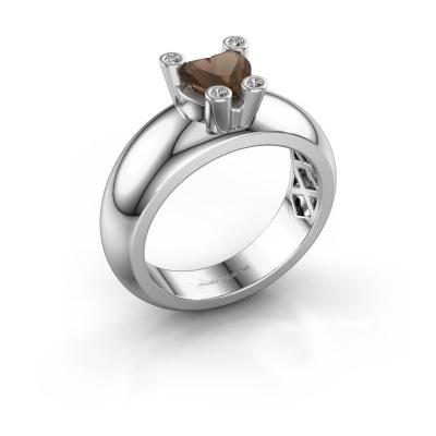 Ring Cornelia Heart 925 silver smokey quartz 6 mm