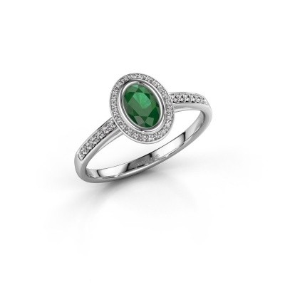 Engagement ring Noud 2 OVL 925 silver emerald 6x4 mm