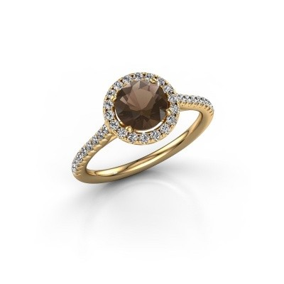 Picture of Engagement ring Seline rnd 2 375 gold smokey quartz 6.5 mm