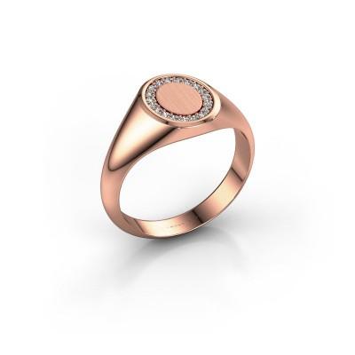 Pinky ring Floris Oval 1 375 rose gold zirconia 1.2 mm