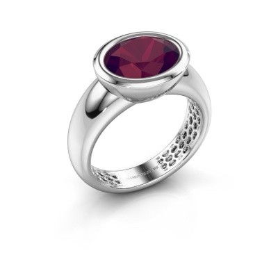 Bague Evelyne 585 or blanc rhodolite 10x8 mm
