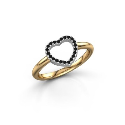 Foto van Ring Heart 7 585 goud zwarte diamant 0.132 crt