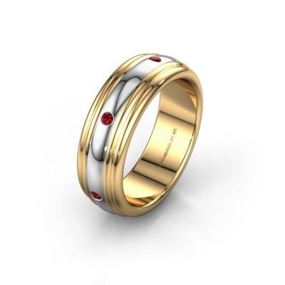 Trouwring WH2236L 585 goud robijn ±6x2.2 mm