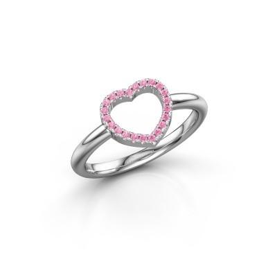 Foto van Ring Heart 7 925 zilver roze saffier 1 mm