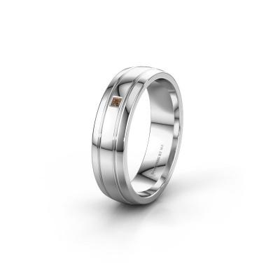 Trouwring WH0422L25X 950 platina bruine diamant ±5x1.5 mm