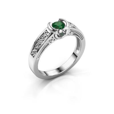 Foto van Ring Elena 585 witgoud smaragd 4 mm