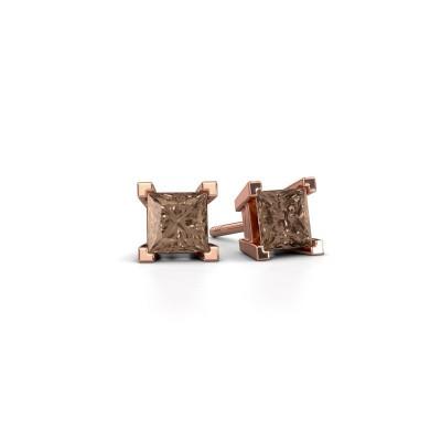 Foto van Oorknopjes Ariane 375 rosé goud bruine diamant 1.56 crt