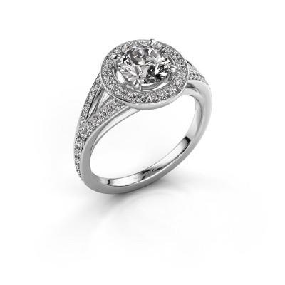 Aanzoeksring Angelita RND 585 witgoud diamant 1.432 crt