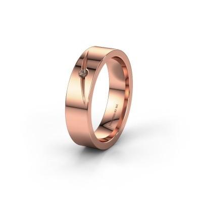 Trouwring WH0170L15A 585 rosé goud rookkwarts ±5x1.7 mm