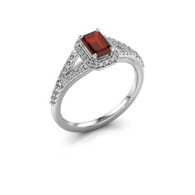 Engagement ring Pamela EME 585 white gold garnet 6x4 mm