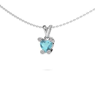 Foto van Ketting Cornelia Heart 585 witgoud blauw topaas 6 mm