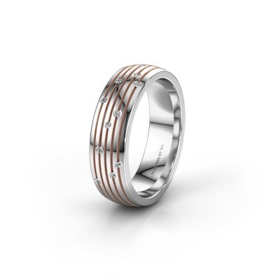 Trouwring WH0150L26A 585 witgoud diamant ±6x1.7 mm
