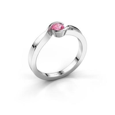 Foto van Ring Lola 925 zilver roze saffier 4 mm