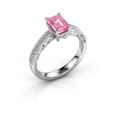 Verlovingsring Shonta EME 585 witgoud roze saffier 7x5 mm