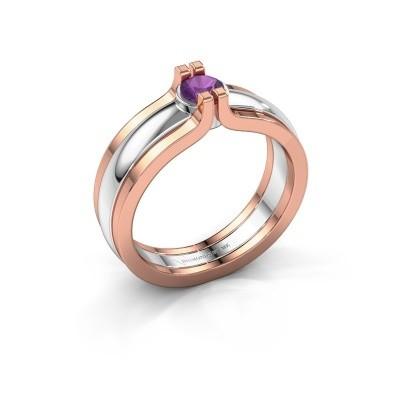 Foto van Ring Jade 585 witgoud amethist 4 mm