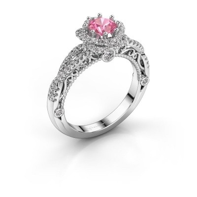 Engagement ring Lysanne 585 white gold pink sapphire 5 mm