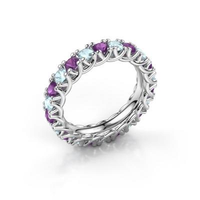 Ring Fenna 585 witgoud amethist 3 mm