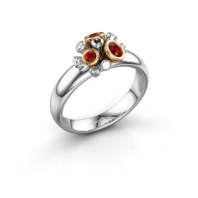 Ring Pameila 585 witgoud robijn 2 mm